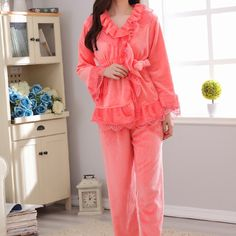 9d9e8a8765 Comfy flannel thicken long sleeve flounces v-neck warm sleepwear sets for  women aria sleepwear robes