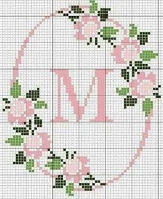 Resultado de imagem para nome rosa maria em ponto de cruz pinterest Cross Stitch Flowers, Cross Stitch Rose, Cross Stitch Charts, Cross Stitch Letters, Cross Stitch Borders, Cross Stitching, Cross Stitch Embroidery, Crochet Cross, Filet Crochet