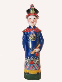 Chinese Beautiful 14 6 inch Porcelain Chinese Blue Governor Emperor's Statue | eBay