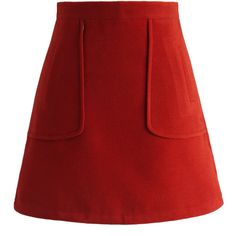 Chicwish Pocket of Charm Bud Skirt in Red ($42) ❤ liked on Polyvore featuring skirts, bottoms, saias, red, red skirt, pocket skirt and red knee length skirt