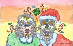 Print of Original Watercolor Painting Dia de Los Muertos Santa and Mrs | ArizonaAhoteArt - Folk Art & Primitives on ArtF