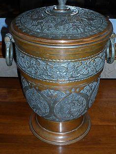Vintage Nader Brass Copper Ice Bucket Hand Hammered Tehran Iran Pot Large | eBay