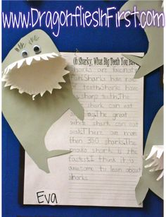 Super cute writing about shark facts!