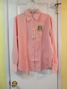 Women's Plus Size 1X Blouse Pink by AKA 20 Pearls Long Sleeve NWT #AKA20Pearls #ButtonDownShirt #Casual