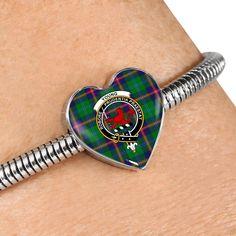 Guthrie Modern Tartan Crest Heart Bracelet – Your Tartan Scottish Tartans, Working Mother, Everyday Items, Heart Bracelet, Bangles, Bracelets, Heart Charm, 18k Gold, Cufflinks