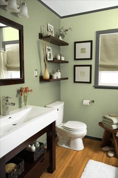 """""""Zen-colored bathroom. I believe this is Benjamin Moore """"Spanish Olive""""."""" - I like this wall color. Need to check to see if that is in fact the name of the color"""