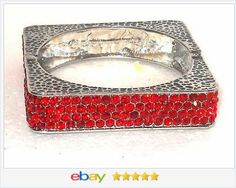 50% OFF #ebay http://stores.ebay.com/JEWELRY-AND-GIFTS-BY-ALICE-AND-ANN Orange Red Square Swarovski Crystal Bracelet VALENTINES DAY