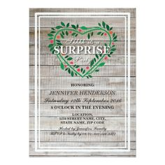 RUSTIC COUNTRY HEART FLORAL SURPRISE BIRTHDAY CARD