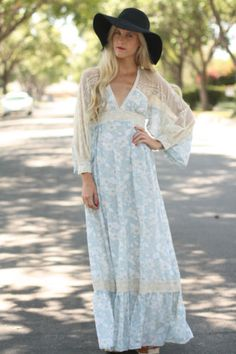 VTG 70s Blue Floral GUNNE SAX Hippie Boho Dress