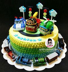 Robocar Poli & Thomas Train Design Fresh Cream Cake