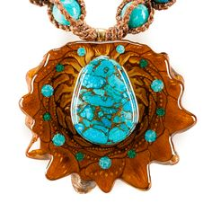 Blue Mohave Turquoise Multi-Glow Full Sinew | Third Eye Pinecones