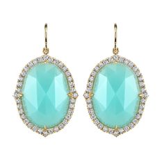 Chalcedony and diamond earrings United States, July 2013 Almost 20cts of chalcedony surrounded by diamonds hung from a frenchwire. Diamonds are colorless and weigh 0.92cts total weight. $4,400 weight: 19.47 kg 23rd Street Jewelers
