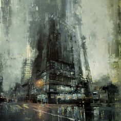 Rainy city painting by Jeremy Mann - Amazing and beautiful painting of a cityscape on rainy day by Jeremy Mann -- cool art. Arte Peculiar, Art Et Architecture, Chinese Architecture, Architecture Details, Ville New York, Fine Art, Urban Landscape, Landscape Art, Landscape Paintings