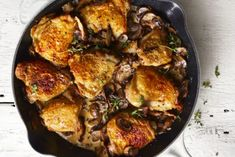 Chicken dinners are typically fail-proof but that doesn't mean they're boring — this creamy, mushroom dish is anything but. Get the recipe for Mushroom Chicken Skillet with Herbed Cream Sauce Mushroom Dish, Mushroom Chicken, Fall Dinner Recipes, Dinner Ideas, Fall Meals, Cooking Recipes, Healthy Recipes, Healthy Meals, Lamb Recipes