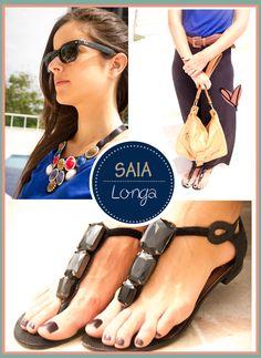 Look do Dia - Alongue-se #benditolook #lookdodia #lookoftheday #fashion #moda #style #estilo #saia #azul #preto #skirt