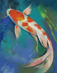 koi+paintings+or+prints | Kohaku Butterfly Koi Painting