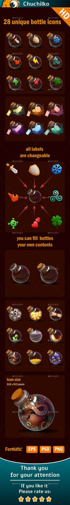 Magic bottles icons - Miscellaneous Game Assets: