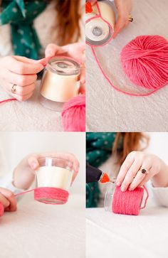 DIY Yarn Candle do it with rattan or hemp for an outdoor wedding