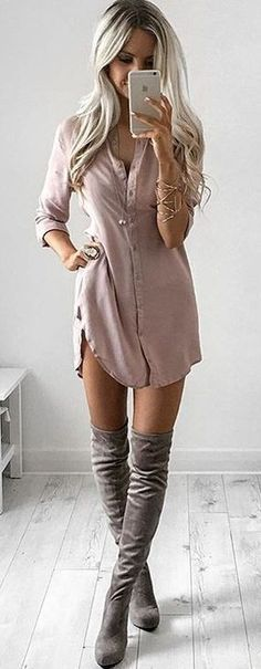 Dusty Pink T-Shirt Dress + Thigh High Boots = The Ultimate Combo
