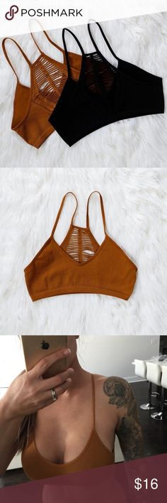 """Camel Boho Back Bralette Ivy Boho Back Bralette  Pair this under your favorite slip dress or low back tunic. Boho cut out details keep things interesting. Super comfortable. Seamless racerback bralette. Modeling size XS/S. 92% Nylon 8% Spandex. Measurements taken flat and unstretched. I'm 34D for reference. Bust laying flat: XS/S 12""""  M/L 13.5""""  Length: XS/S 11""""  M/L 11.5""""  Add to bundle to save 15% on two items or more from my closet. Viscosity Intimates & Sleepwear Bras"""