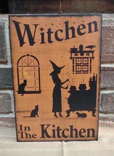 Primitive Witch sign Witchen in the Kitchen witches Signs halloween decorations witchcraft black cats wood plaque folk art custom wicca by SleepyHollowPrims, $27.00 USD