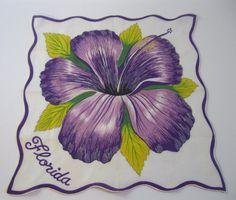 Vintage Florida handkerchief hankie hanky with purple hibiscus blossom - 1950s Florida souvenir