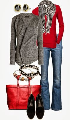 Amazing Gray Cardigan with Red Sweater, Circle Scarf, Jeans, Red Handbag, Accessories and Black Moccasins
