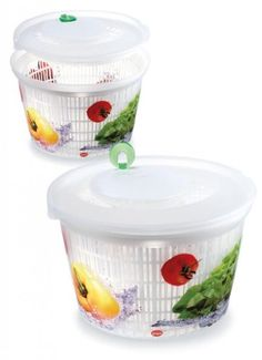 Snips Ulaop Decorated Clear Plastic Salad Spinner White / Green / Red - http://www.rekomande.com/snips-ulaop-decorated-clear-plastic-salad-spinner-white-green-red/