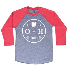 e193ab45c81a Homeland Tees Ohio Arrow Tri-Blend Raglan Baseball Shirt