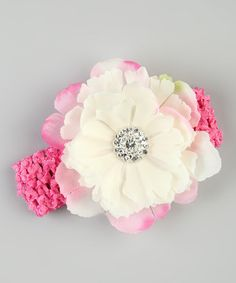 Take a look at this Ivory & Pink Flower Crochet Headband by Charlotte Rose Couture on #zulily today!