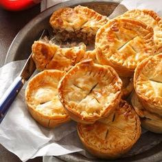 Mini Pork Pies Recipe -I discovered my love of pork pies as a child when I used to help my father deliver oil on Saturdays and we would stop at a local pork pie place for lunch. As an adult I host Christmas Eve for my very large French Canadian family and everyone expects to find my little pork pies—it just wouldn't be Christmas Eve without them.—Renee Murby, Johnston, Rhode Island