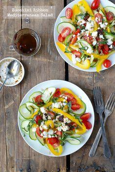 Zucchini Ribbon Mediterranean Salad from @boulderlocavore