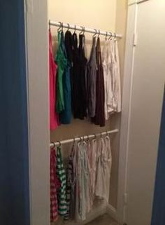 Storage closet organization dead space tension rods 35 Ideas - Image 6 of 22 Clothes Storage Without A Closet, Baby Clothes Storage, Small Closet Organization, Closet Storage, Bedroom Storage, Diy Storage, Storage Ideas, Storage Organization, Tank Top Organization
