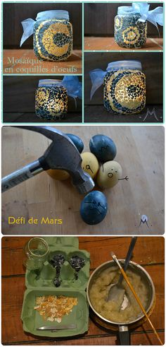 Marine Poppins | Défi de Mars - Photophore en mosaïque faite avec des oeufs