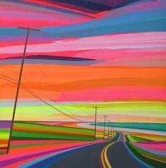Artista americano cria fantásticas pinturas technicolor de estradas vibrantes e…