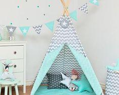 Teepee set with floor mat - Fresh Mint Baby Teepee, Teepee Tent, Patio, Floor Mats, Kids Furniture, Decoration, Fresh Mint, Bird Feeders, Toddler Bed