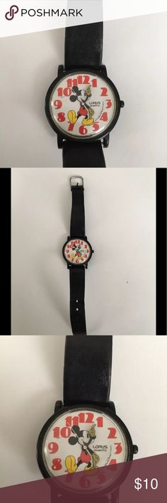 Vintage 90s Lorus Mickey Mouse Watch Black Band Vintage 90s Lorus Mickey Mouse Watch Black Band Large Red Numbers   Good condition-- needs a new battery. Currently not working but previously worked with battery. Jewelry
