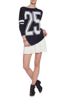 Pullover tricot a maniche lunghe, Blu navy
