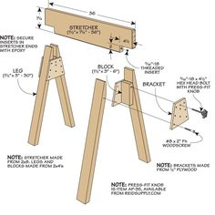 Stow-Away Sawhorses: Clever knock-down sawhorse design saves space. Woodworking Workshop, Easy Woodworking Projects, Woodworking Bench, Diy Wood Projects, Woodworking Tools, Sawhorse Plans, Stow Away, Homemade Tools, Diy Garage
