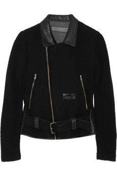 Raquel Allegra|Cropped angora-blend bouclé and leather jacket|NET-A-PORTER.COM - StyleSays