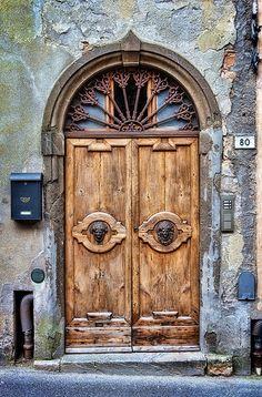 Arched portal, Volterra, province of Pisa, Tuscany region Italy door Door Knockers, Door Knobs, Door Handles, Cool Doors, Unique Doors, Entrance Doors, Doorway, When One Door Closes, Door Gate