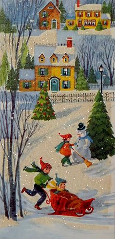 Oh what fun we had playing in the snow with our neighbors. We built snow forts and had snowball fights. by faith Vintage Christmas Images, Retro Christmas, Christmas Pictures, Christmas Art, Christmas Greetings, Winter Christmas, Christmas Houses, Winter Fun, Vintage Greeting Cards