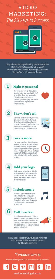 Our recent Online and Social Video Marketing study revealed that four times as many consumers would rather watch a video about a product than read about it. Video is everywhere, and consumers have come to expect video from businesses and brands. Not using video for marketing yet? WeddingWire's got you covered with a new infographic called Video Marketing: The Six Keys to Success.
