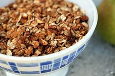 My favorite granola recipe ever.  I substitute agave for the brown sugar and add allspice and more dried fruit - amazing. He says it keeps for a month but my experience is you can get about 3 months in mason jars - the freezer would work too.
