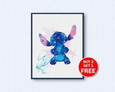 Stitch Poster, Stitch Watercolor, Lilo & Stitch Movie Poster, Lilo Watercolor, Movie Watercolor, Watercolor Art, Wall Decor, Home Decor by TheWoodenKat on Etsy