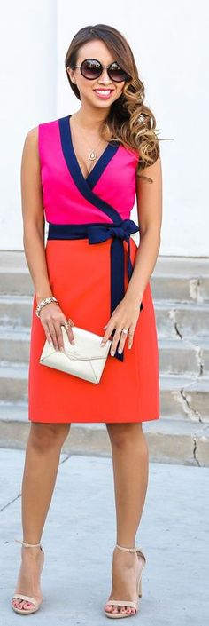 Pink And Orange Wrap Sleeveless Waist Bowed Knee-length Dress