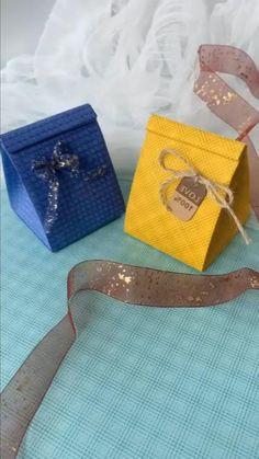 Diy Gift Bags Paper, Origami Gift Bag, Origami Diy, Small Paper Bags, Paper Bag Crafts, Paper Crafts Origami, Diy Gift Box, Paper Gifts, Diy Crafts Hacks