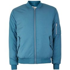 TOPMAN Blue Padded Bomber Jacket (1,400 MXN) ❤ liked on Polyvore featuring men's fashion, men's clothing, men's outerwear, men's jackets, blue, mens bomber jacket, mens blue bomber jacket, mens padded jacket, mens padded bomber jacket and mens blue jacket