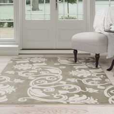 Lavish Home Green/Ivory Floral Scroll Area Rug
