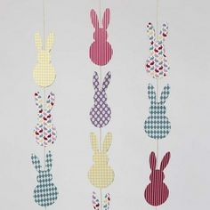 Eggs cut out from Color Bar card with double-sided print. Three or four pieces of card are stapled together with a stapler and a piece of coloured elastic beading cord is used for hanging. Bar Card, Diy And Crafts, Crafts For Kids, Clear Glue, Creative Activities, Bunting, Easter Bunny, Diy Projects, Hygge